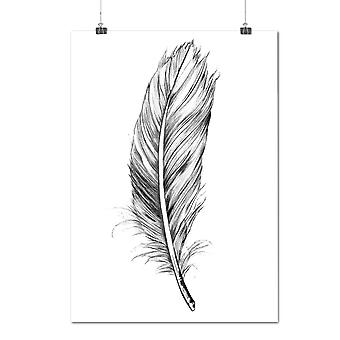 Matte or Glossy Poster with Elegant Feather | Wellcoda | *y69