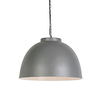 QAZQA Industrial Round Pendant Lamp Large Grey with inner White Shade - Hoodi