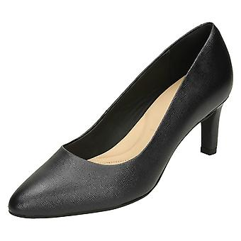 Ladies Clarks Textured Court Shoes Calla Rose - Black Leather - UK Size 7D - EU Size 41 - US Size 9.5M