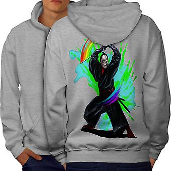Fantasy Katana Men GreyHoodie Back | Wellcoda