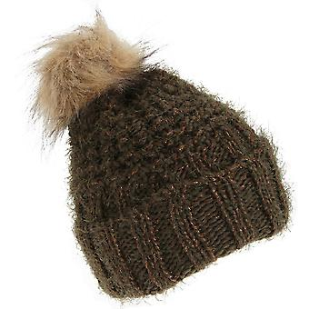 Foxbury Womens/Ladies Chunky Winter Hat With Faux Fur Bobble
