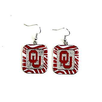 Oklahoma Sooners NCAA Zebra Style Dangle Earrings