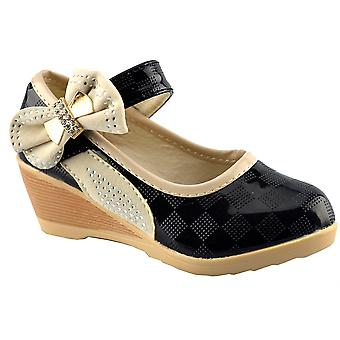 Infant Girls Low Wedge Touch Fastening Evening Party Dress Formal Shoes