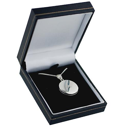 Silver 23mm engraved flat round Locket with a curb Chain 18 inches