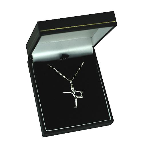 Silver 22x20mm Lord of the Dance Yoga Position Pendant with a rolo Chain 14 inches Only Suitable for Children