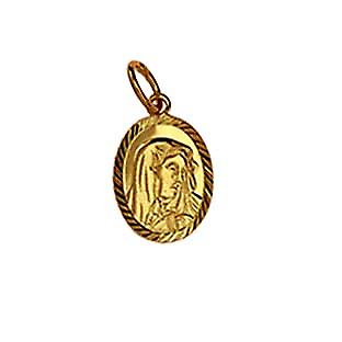 9ct Gold 14x11mm oval diamond cut edge Our Lady of Sorrows Pendant