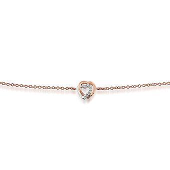 Gemondo 9ct Rose Gold 0.03ct Diamond Hearts Bracelet