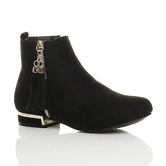 Ajvani womens block low heel gold zip tassel pixie chelsea ankle boots