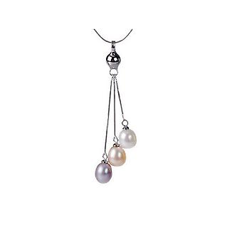 Necklace pendant woman in Silver 925/1000 and multicolored pearls of Culture of freshwater