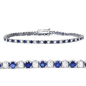 2 ct 青いサファイア ・ ダイヤモンド本物のテニス ブレスレット 14 K ホワイトゴールド
