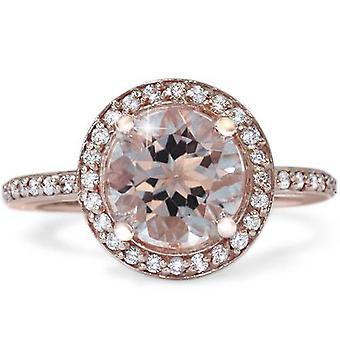 Puro 2ct y diamante Halo Vintage antiguo anillo de compromiso 14K de oro rosa