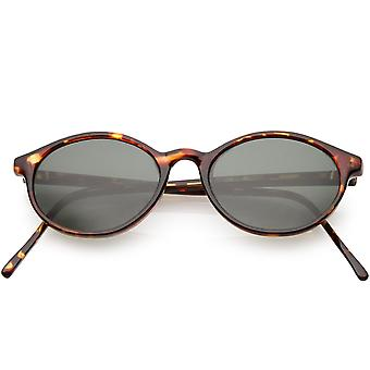True Vintage Small Horn Rimmed Oval Sunglasses Slim Arms 48mm