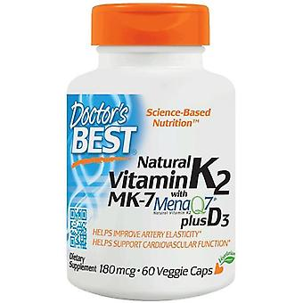 Doctor's Best Natural vitamin K2 MK7 with menaQ7 plus d3 180 mcg 60 vcaps