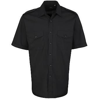Premier Mens korte mouw kanvas zakelijke Pilot Shirt