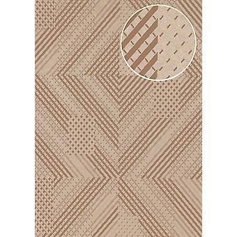 Graphic wallpaper ATLAS XPL-564-2 non-woven wallpaper structured with geometric forms gleamin' grey grey brown bronze gold 5.33 m2