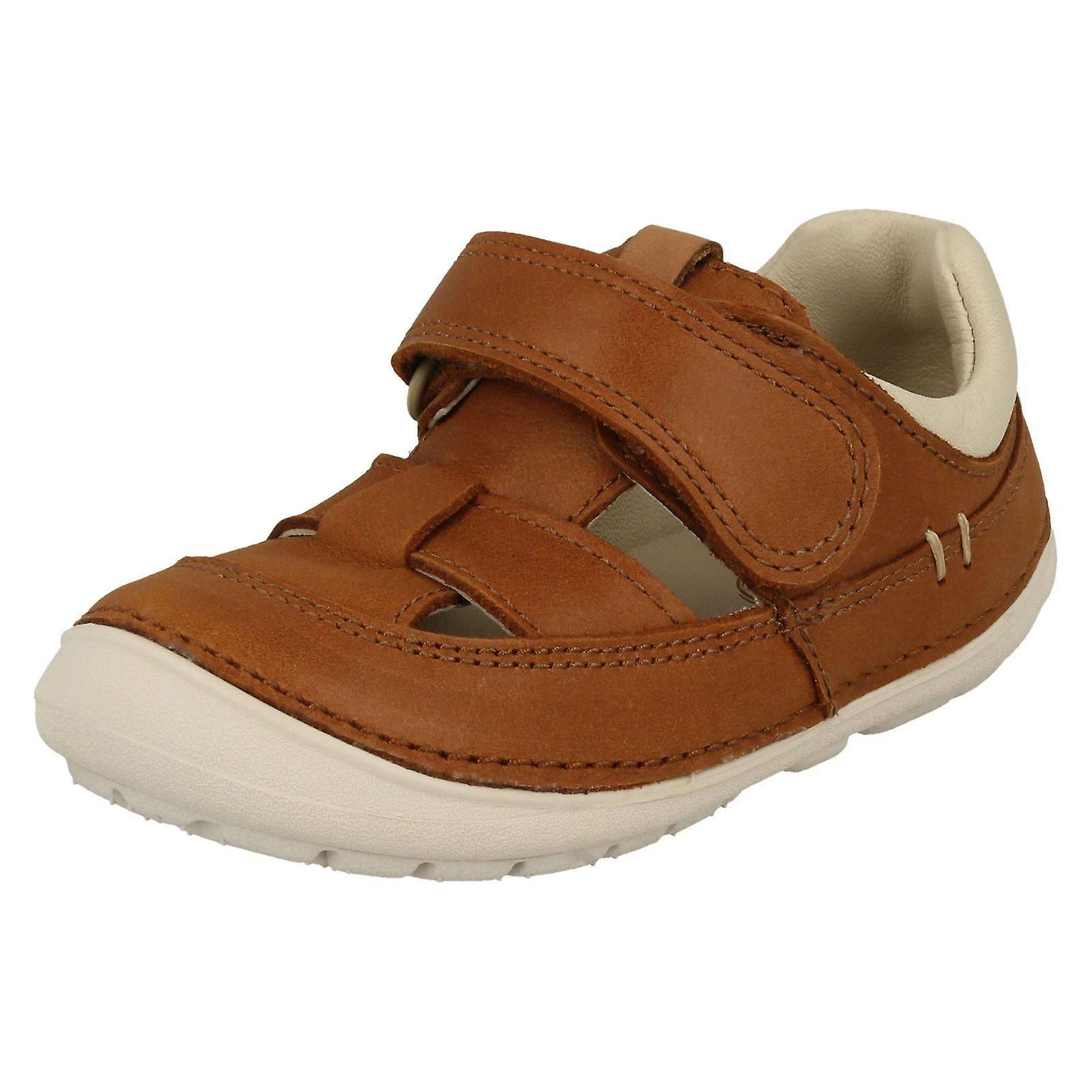 Garçons Clarks sandales de formateur occasionnel doucement Ash - cuir Tan - UK Taille 4.5F - UE Taille 20.5 - Taille US 5 M