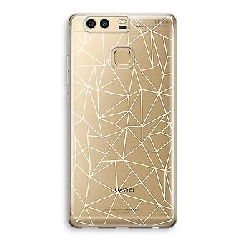 Huawei P9 Transparent Case (Soft) - Geometric lines white