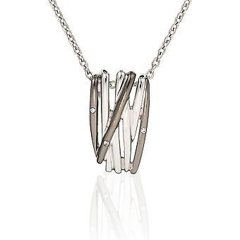 Orphelia Silver 925 ketting met hanger lijnen en zwarte Rhodiumplated zirkonium ZH-6038/2