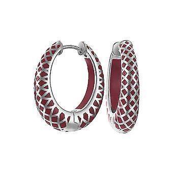 ESPRIT women's earrings Creole silver lattice red ESCO90796B000