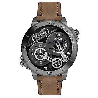 s.Oliver Herren Uhr Armbanduhr Leder SO-3113-LQ