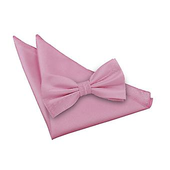 Light Pink Solid Check Bow Tie & Pocket Square Set