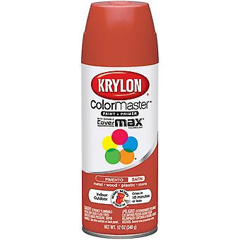 Colormaster Indoor/Outdoor Aerosol Paint 12oz-Satin Pimento