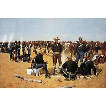 A Calvarymans Breakfast On The Plains Poster Print by Frederic Remington (24 x 36)