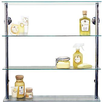 Maxwell - Wall Mounted Wide Glass 195 Cd / 140 Dvd Storage Shelves - Clear / Silver