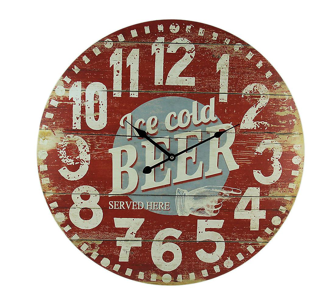 Red Wall Clock 23 Ice Inch Beer Wood Cold Vintage y6fvYb7g