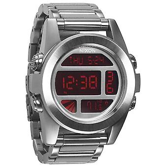 Nixon The Unit SS Watch - Silver/Red