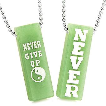 Never Give Up Tags Love Couples or Best Friends Amulets Yin Yang Energy Green Quartz Necklaces