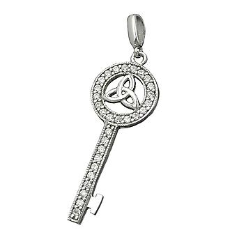 Kettenanhänger Anhänger SCHLÜSSEL Triqueta Zirkonia rhodiniert 925 Silber