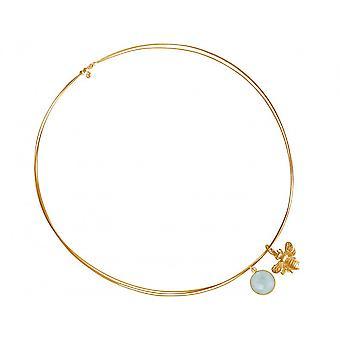 Halskette -  925 Silber - Vergoldet – Biene – Chalzedon – Meeresgrün – 45 cm