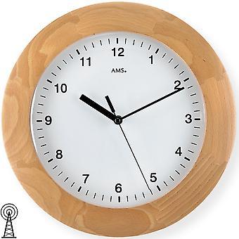 Радиоуправляемые настенные часы настенные часы твердой древесины случае радио бук выпуклое минеральное стекло