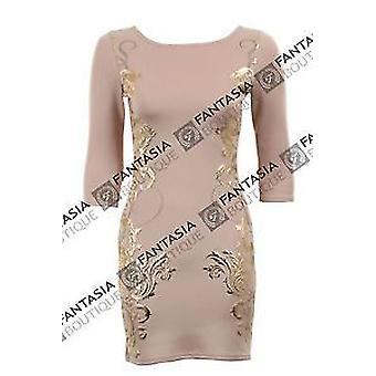 Ladies Gold Embossed Baroque Leaf Print 3 Quarter Sleeves Bodycon Women's Dress