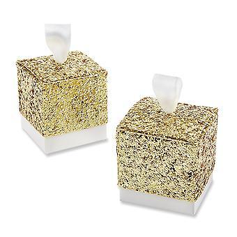 TRIXES gouden Glitter stemmen vakken met lint Pack van 50 snoep en geschenken