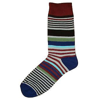 Bassin et brun Multi Stripe chaussettes Midcalf - vin/gris/bleu