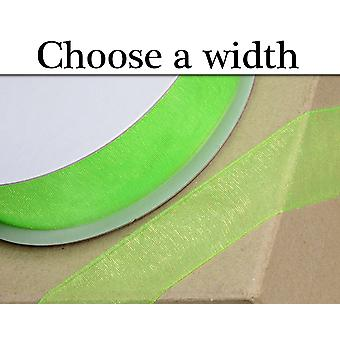 3-38mm Apple Green Organza 25m Ribbon for Crafts
