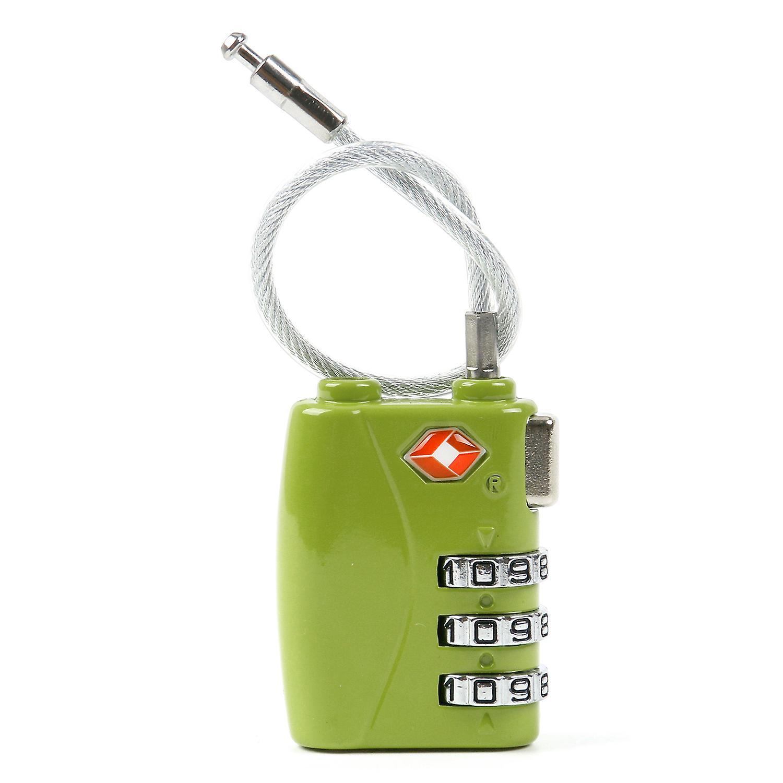 TRIXES Green 3 Dial TSA Combination Secure Cable Travel Lock