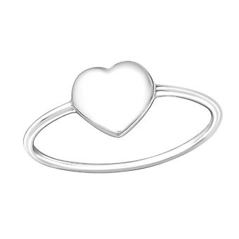 Heart - 925 Sterling Silver Plain Rings - W36756x