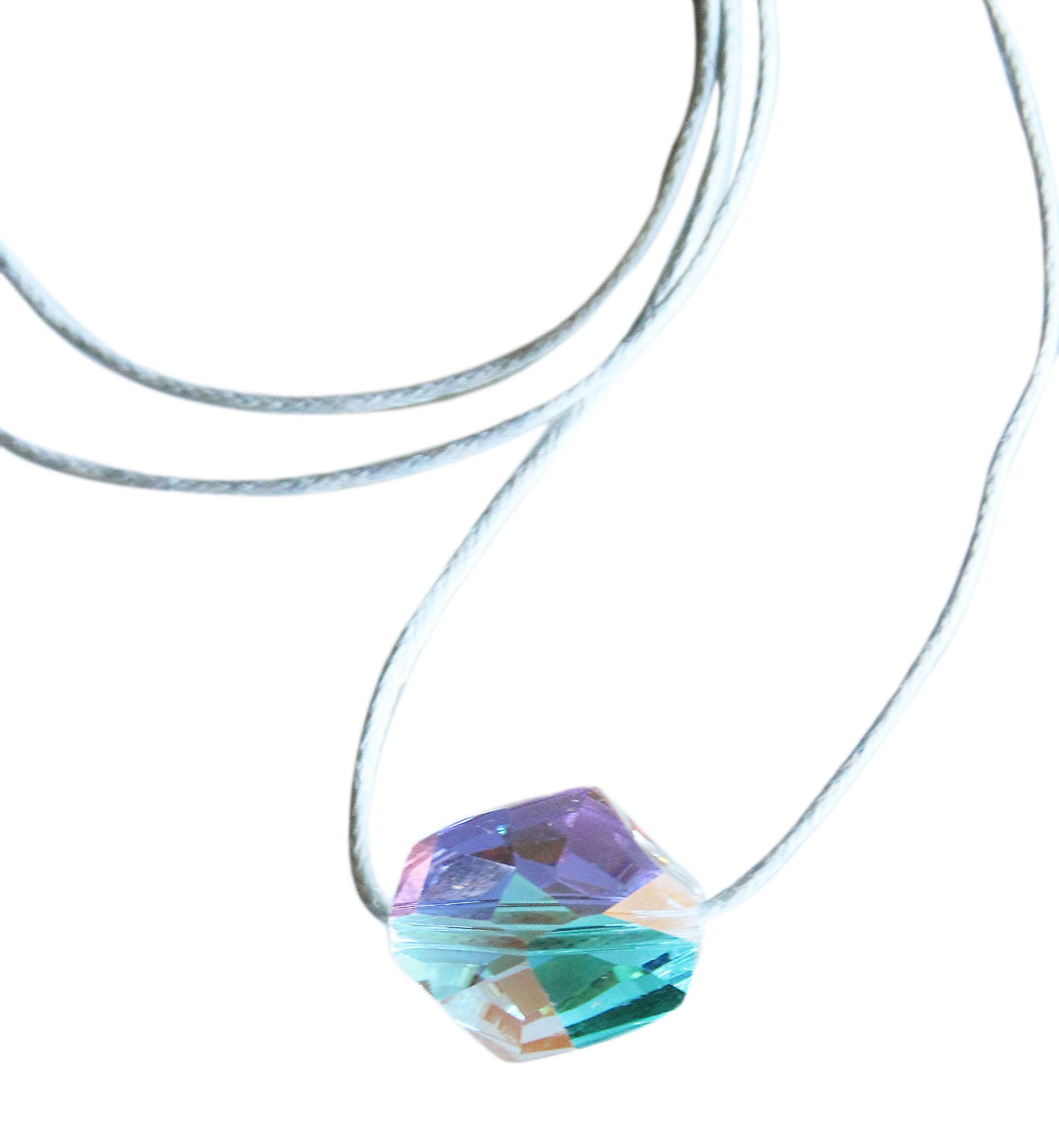 Waooh - Jewelry - Swarovski / sapphire pearl pendant with clear blue wax cord reflection