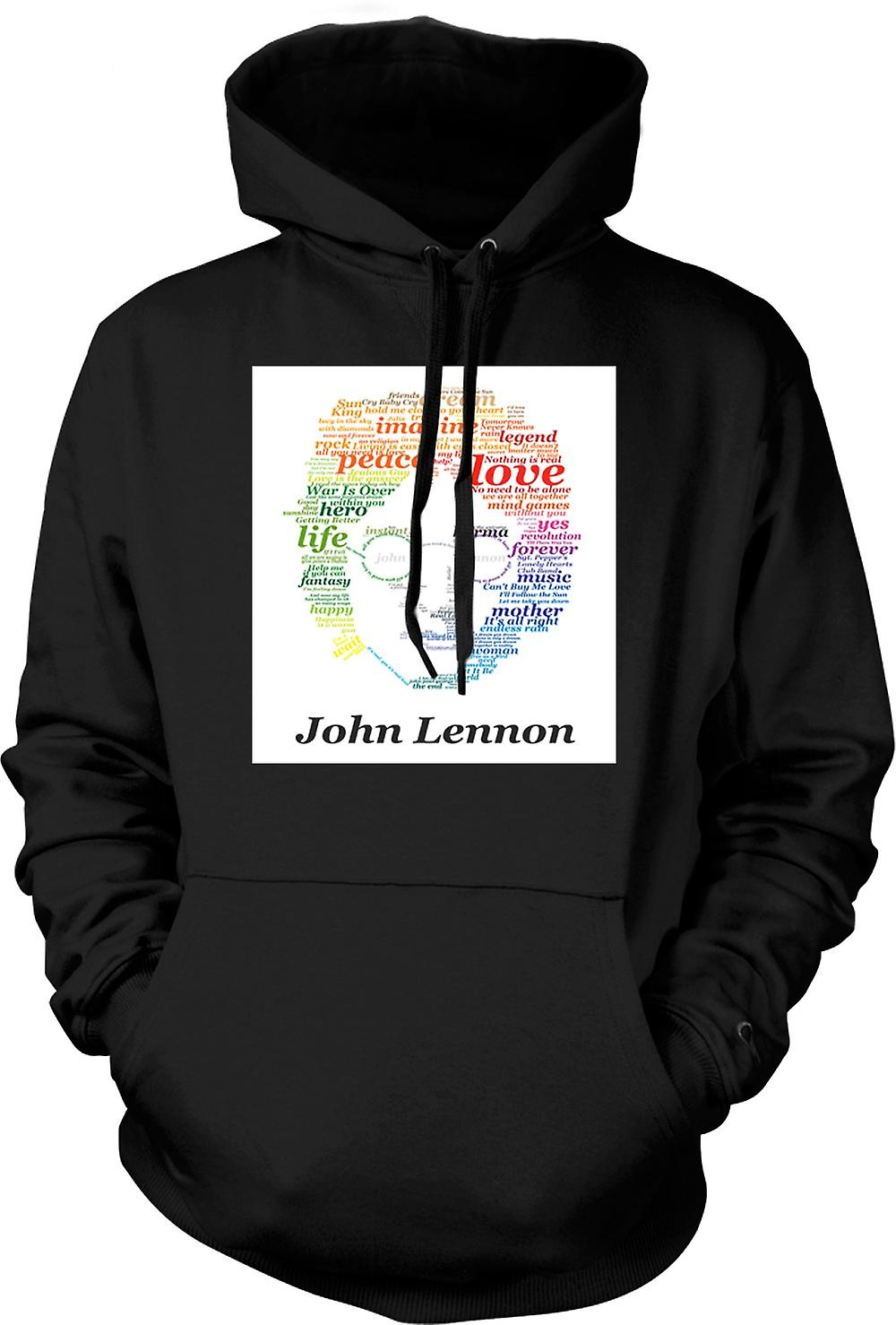 Mens Hoodie - John Lennon Lyrics On Face