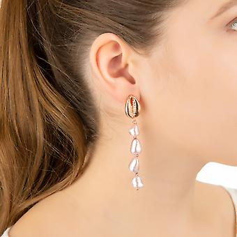 Cowrie Sea Shell Natural Pearl Long Dangle Drop Earrings Pink Rose Gold White