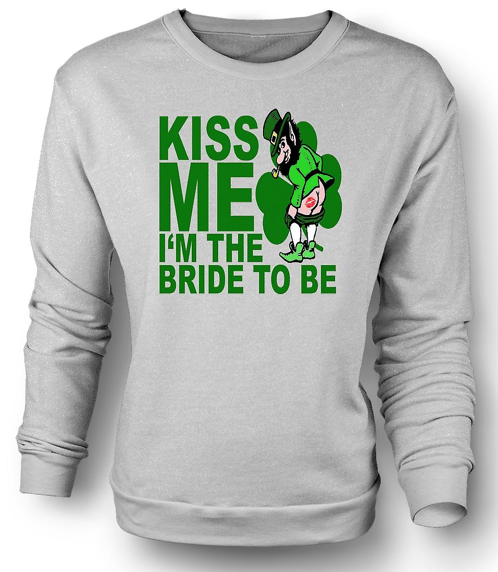 Mens Sweatshirt St Patricks Day Irish Kiss Me - Funny