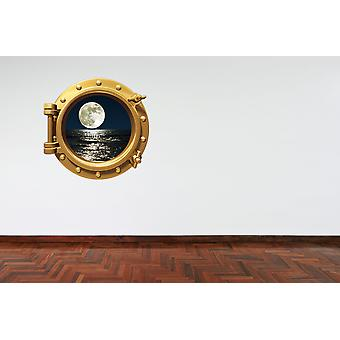 Full Colour Brass Porthole Moon Wall Sticker