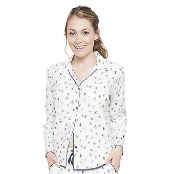 Cyberjammies 4084 vrouwen Aspen White skiën Print pyjama's Top