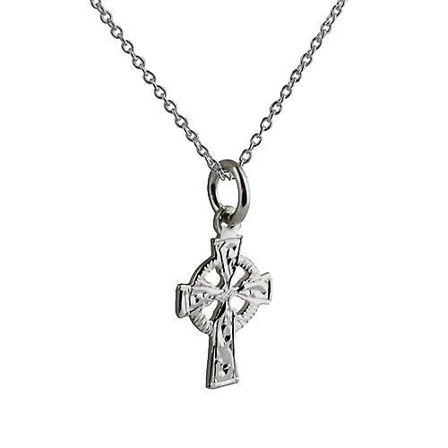 Silver 16x11mm hand engraved Celtic Cross with Rolo chain