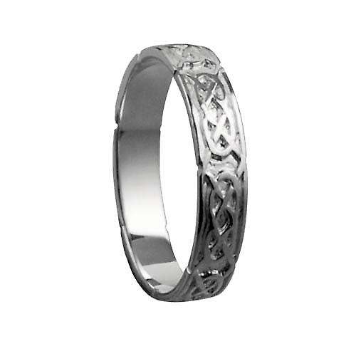 9ct white gold 4mm Celtic Wedding Ring