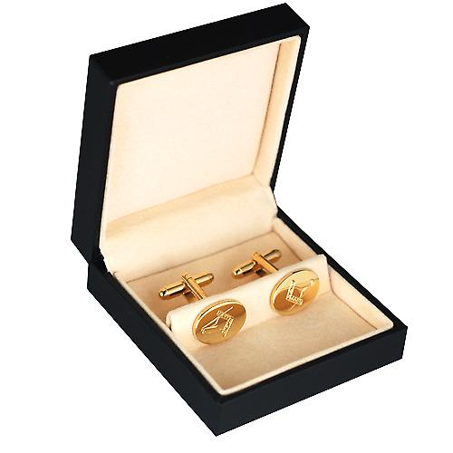 Hard Gold Plated 12x16mm oval Masonic engraved Cufflinks