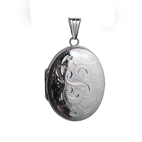 Silver 30x24mm hand engraved oval Locket